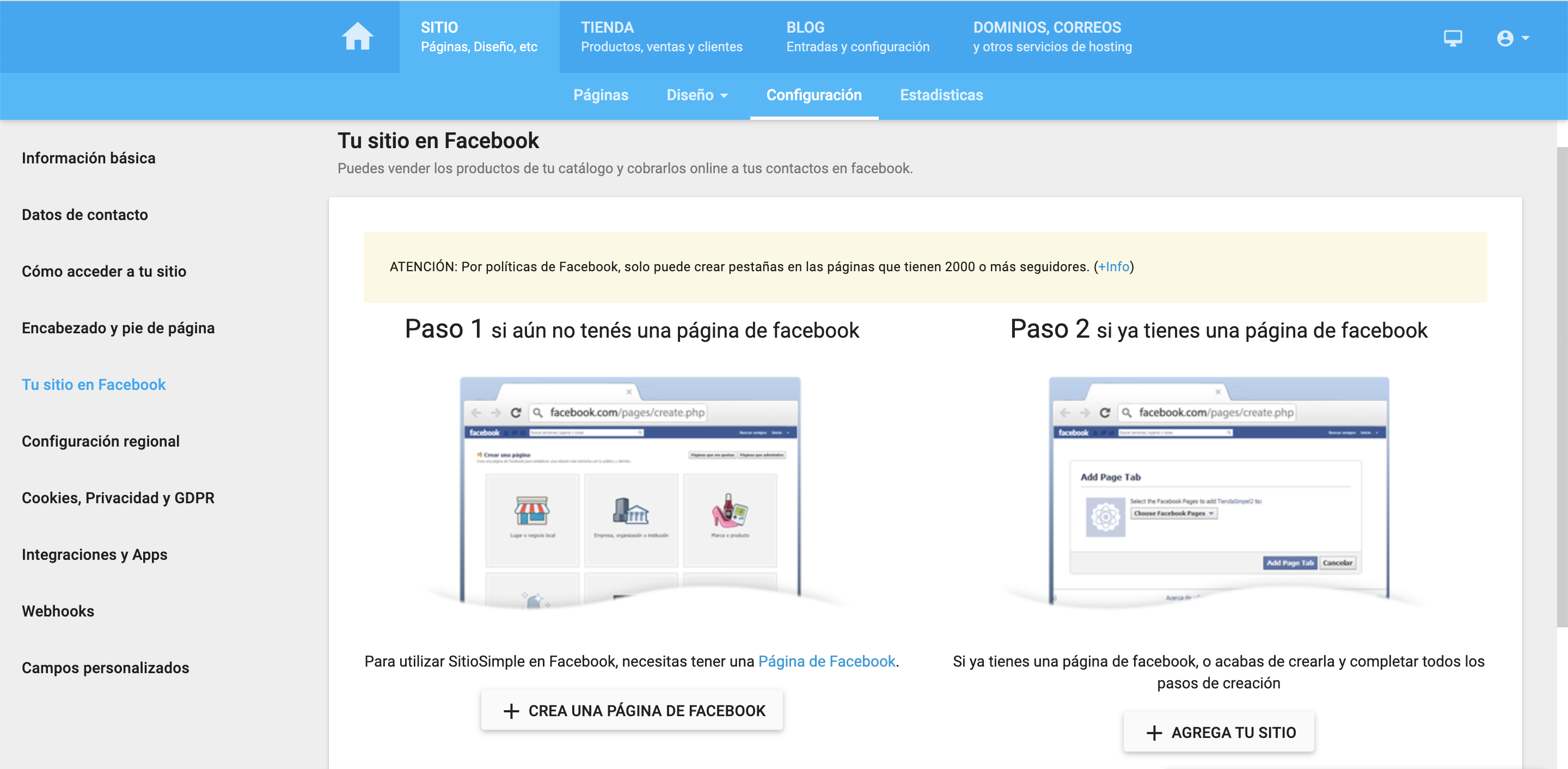 Facebook y tu SitioSimple