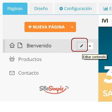 editar pagina sitio simple