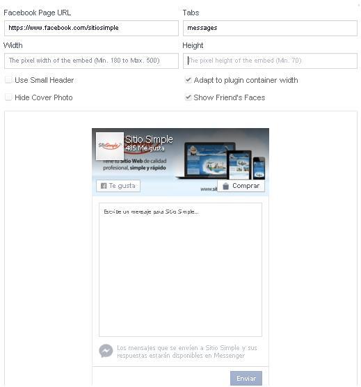 recibe contactos en facebook messenger desde sitio web