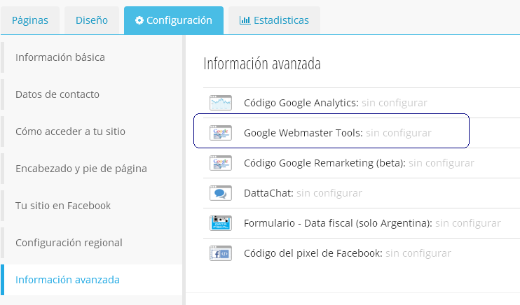 configurar google search console en sitiosimple