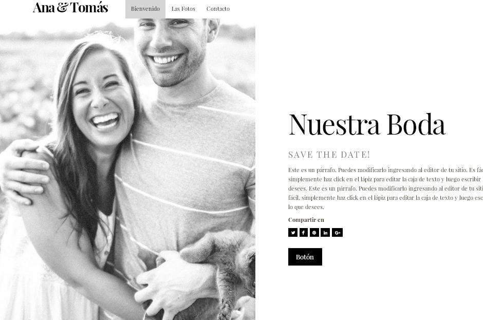 plantilla sitio web para bodas