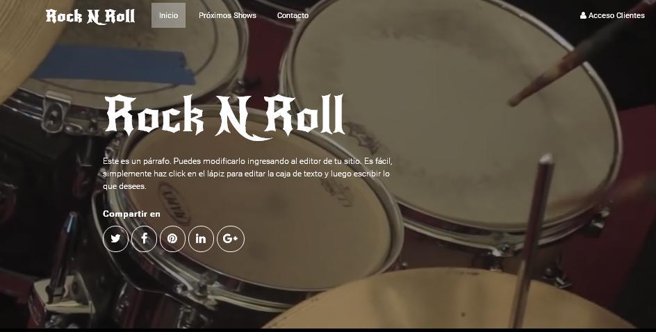 plantilla pagina web para bandas de rock y musica