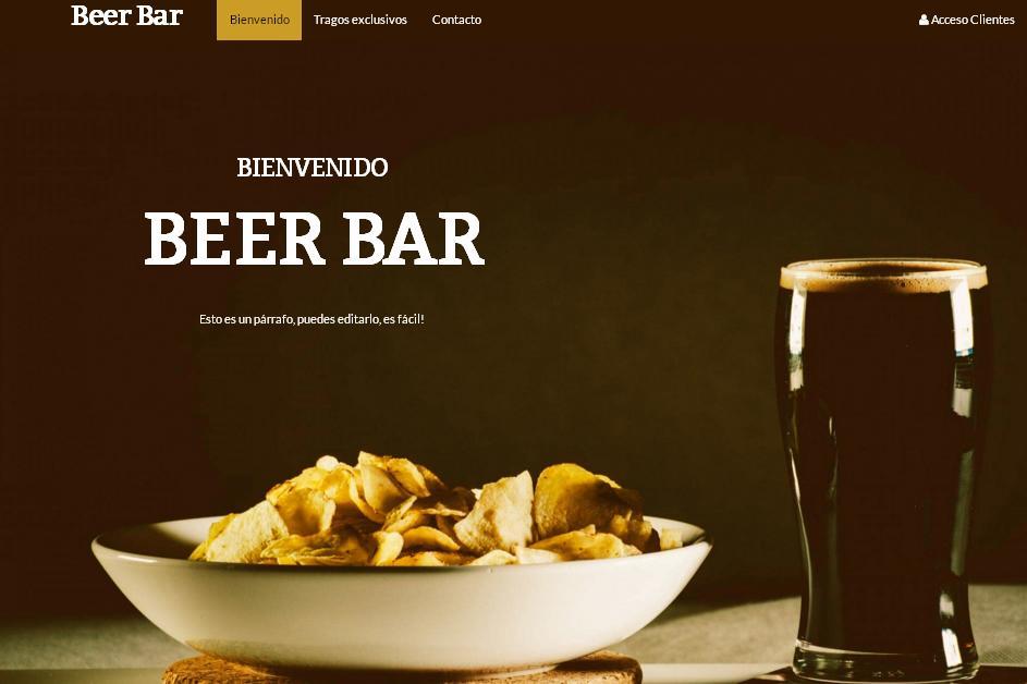 plantilla pagina web para bares