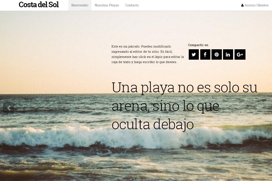plantilla sitio web para playas