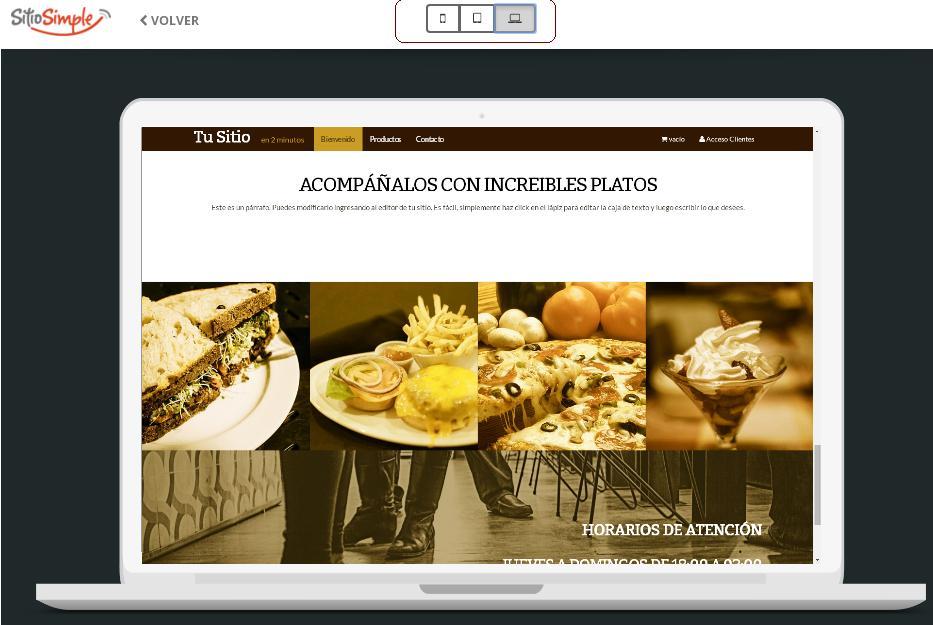 previsualizar plantillas de sitio web en diferentes dispositivos