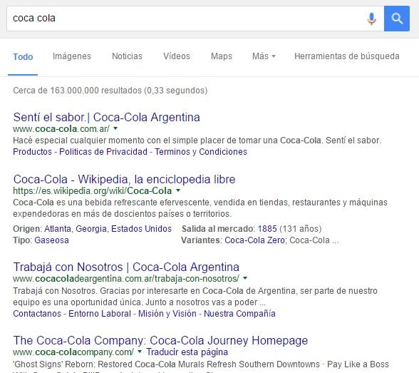 coca cola de argentina primeros puestos en google