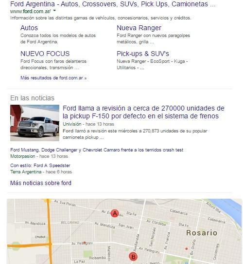 primeros resultados de ford en google