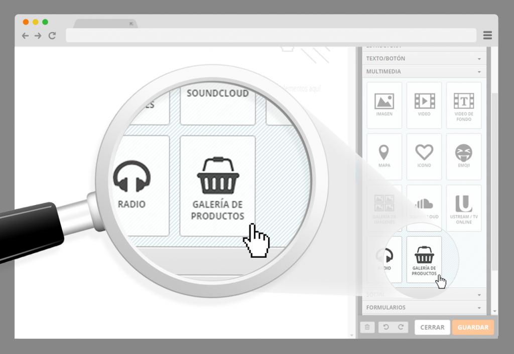 control galeria de productos en sitiosimple