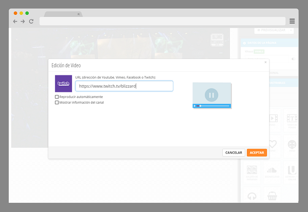 incluir twitch en forma automatica en tu web