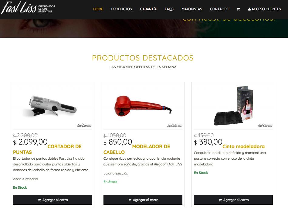 sitio responsivo con carrito de compras en homepage