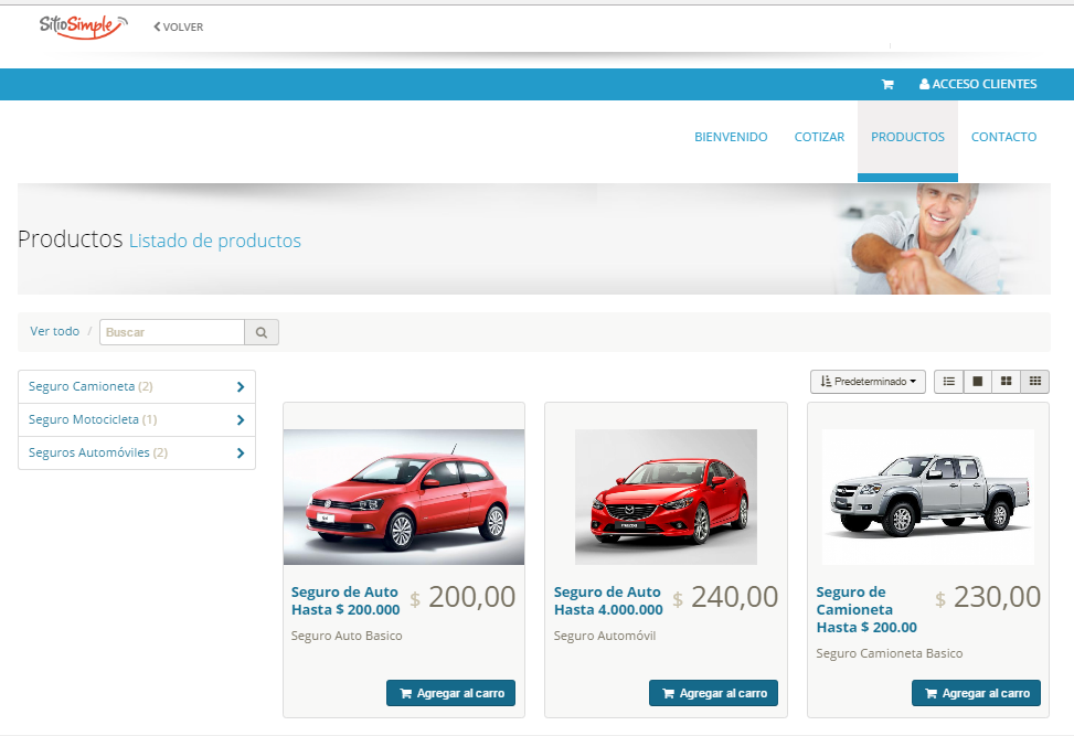 venta de servicios online en sitio web