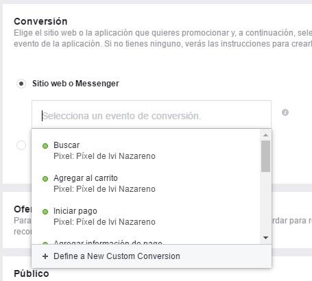 como elegir tipo de conversion de facebook