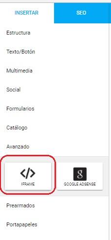 agregar codigo html en sitiosimple