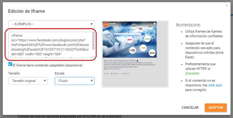 insertar el html de facebook en sitio web