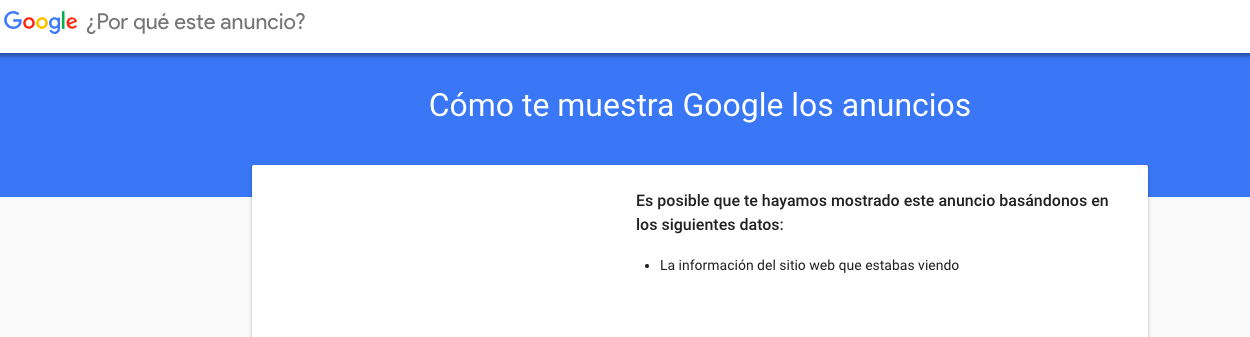 porque google me mostro un anuncio en red de display
