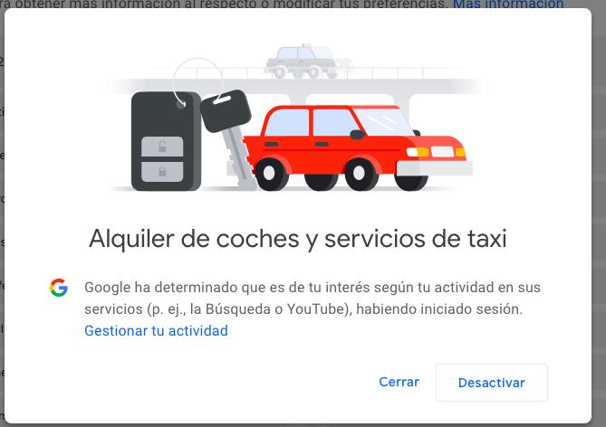 como desactivar un interese en Google