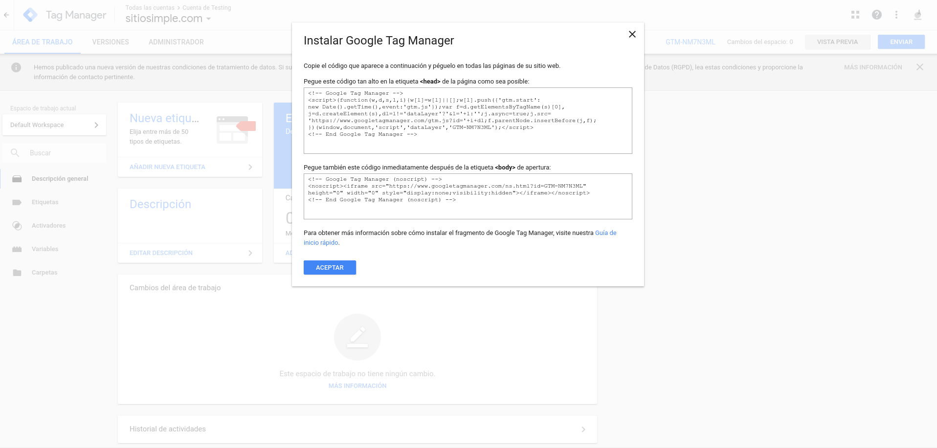 crear contenedor google tag manager