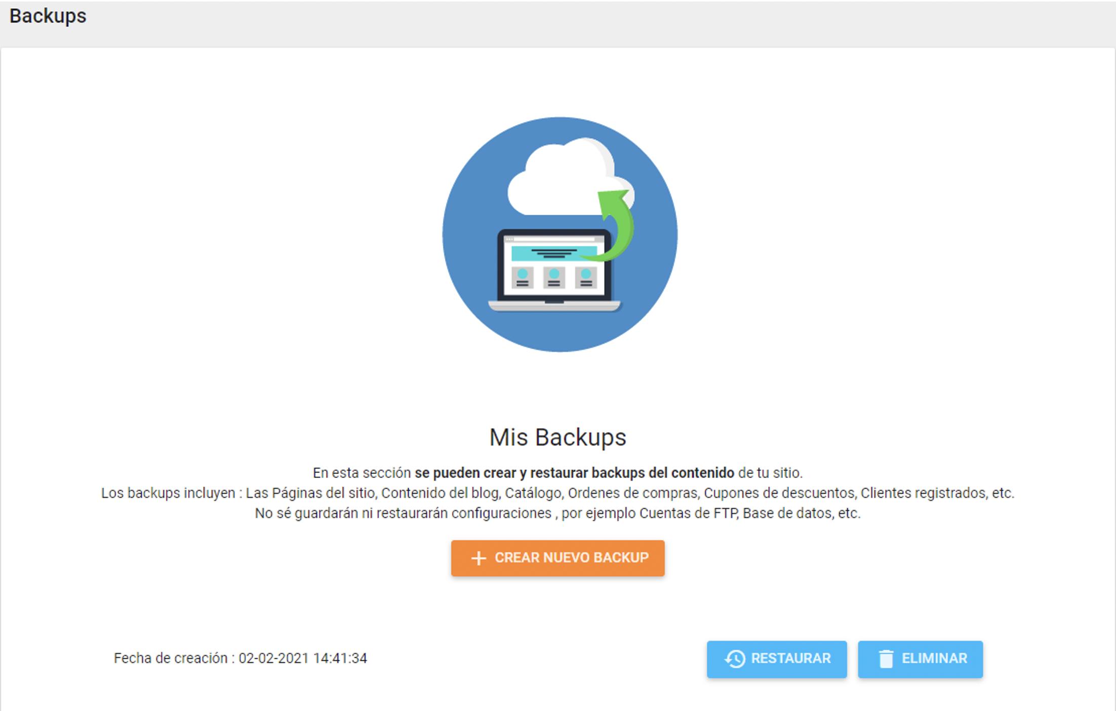 como crear un backup en SitioSimple