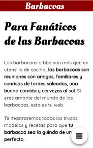 Menú versión mobile de la web de nicho, Barbacoas Online.