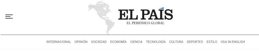 Menú versión web de El País