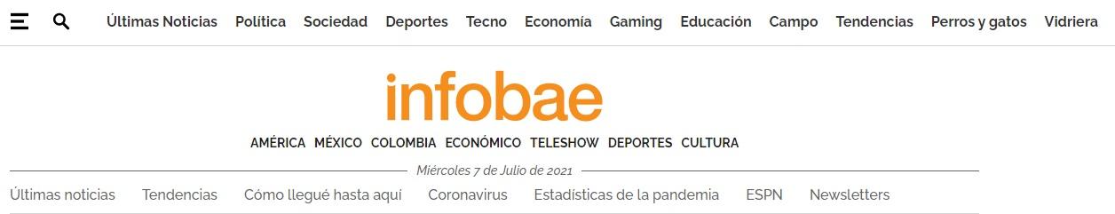 Logotipo en menú de Infobae
