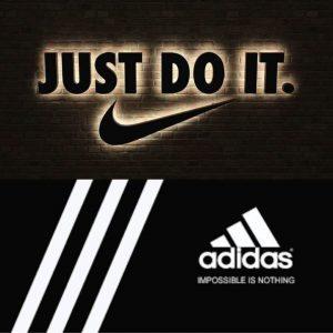 Slogan creativo de Nike y de Adidas