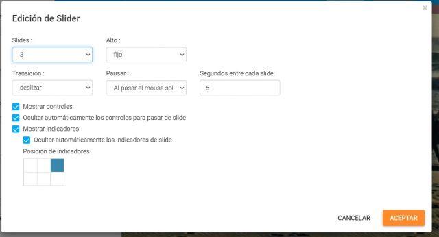Edición slider SitioSimple