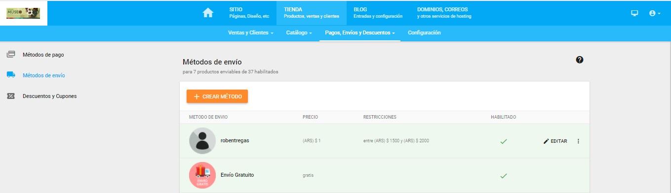 sección métodos de envíos SitioSimple