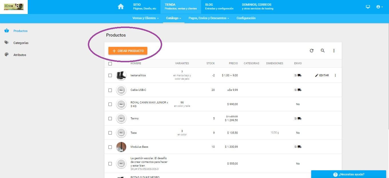 Sección crear producto de SitioSImple