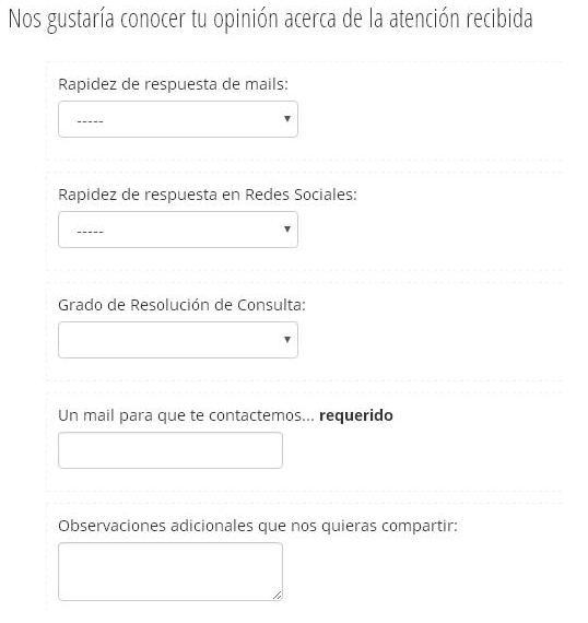 Ejemplo cuestionario para conocer opiniones en SitioSimple